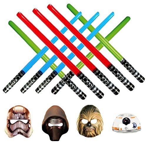 Inflatable Play Light Saber - Great For Star Wars Parties, Larp, Halloween, and More 3 Blue 3 Green 3 Red & Star Wars Photo -