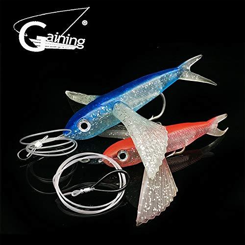 (Gaining Fishing Lure Seawater Fishing Bait Flying Fish Lure Boat Trolling Tuna Mackerel Soft Baits Soft Lure Fishing Tackle - (Size: 1pcs Blue))