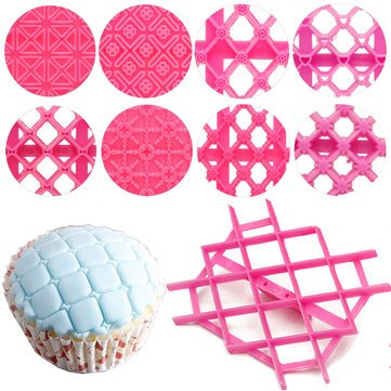 Bakeware & Accessories Cake & Cookie Cutters - 9pcs Sugarcraft Cup Cake Fondant Cake Embosser Cutter Icing Decorating Mould - 9 x Cake Embosser