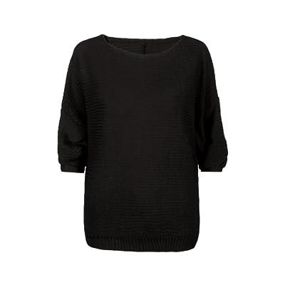 Dingji Women Winter Batwing Sleeve Knitted Pullover Loose Sweater Jumper Tops Knitwear