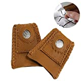 FOGAWA Leather Coin Thimble Pads Finger Sleeve Protector for Sewing Quilting Embroidery Craft Tool Handmade Needlework Accessory with Metal Tip Medium-Sized 2Pack