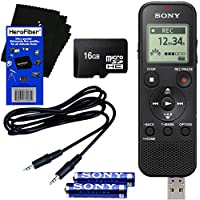 Sony ICD-PX370 Mono Digital Voice Recorder with Built-in 4GB & Direct USB + 16GB Micro SDHC Memory Card + Auxiliary Cable + AAA Batteries + HeroFiber Ultra Gentle Cleaning Cloth