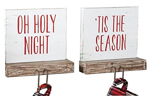 Holiday MudPie Bundle Set of 2 Wood Stocking Holders Tis the Season and Oh Holy Night 6