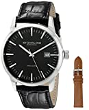 Stuhrling Original Men's 555A.01 Analog Classic Ascot II Swiss Quartz Movement Leather Strap Black Watch with Interchangeable Tan Leather Strap