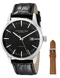 Stuhrling Original Men's 555A.01 Classic Ascot II  Swiss Quartz Date Black Dial Strap Set Watch