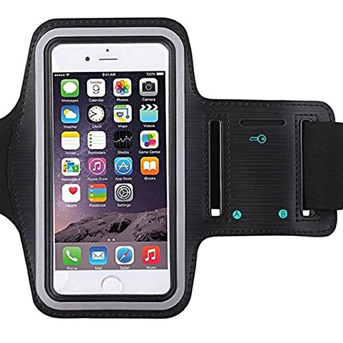 Price comparison product image Universal Water Resistant Sports Armband,iBarbe,case Bundle with Screen Protector for iPhone 7/6/6S Plus,LG G6 G5,Galaxy s8,s8 plus s7 s6 Edge,Note 5 Sport Exercise Running Pouch Key Holder (Black)