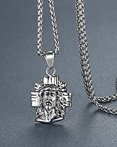"""Men's Stainless Steel Jesus Christ Religious Pendant Necklace, 24"""" Link Chain, aap083"""