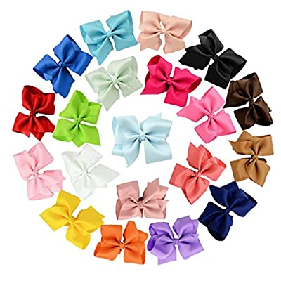 Jmkcoz 20pcs Grosgrain Ribbon Large Boutique Hair bows Alligator Clips for Girls Women 4.5""