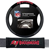 Fremont Die Tampa Bay Buccaneers NFL Steering Wheel Cover and Seatbelt Pad Auto Deluxe Kit
