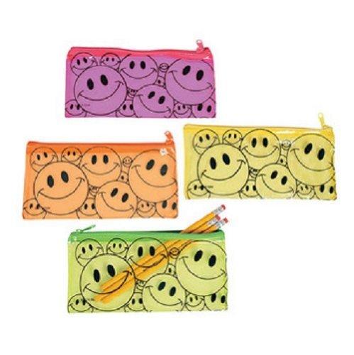 (Fun Express Vinyl Smile Face Pencil Pouch Case Party Favor Set (Lot of 12))
