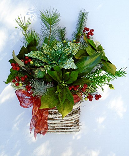 Christmas Natural Wood Basket with Green Poinsettias
