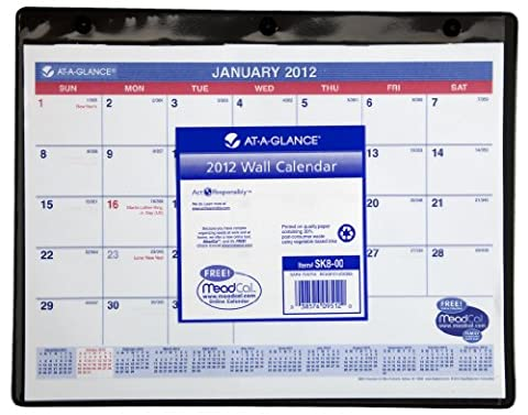 AT-A-GLANCE Desk/Wall Calendar, Med Wall, Black, Current Year (SK8-00)