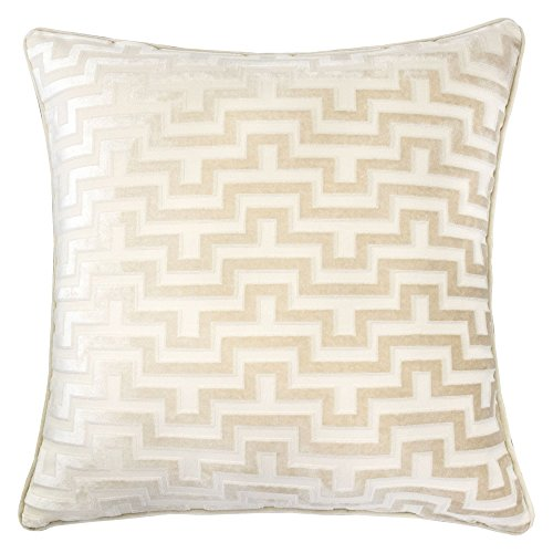 (Homey Cozy Modern Maze Throw Pillow Cover,Ivory White Luxury Velvet Soft Fuzzy Cozy Warm Slik Large Sofa Couch Cushion Case 18x18, Cover Only)