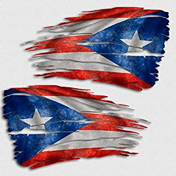 Puerto rico flag tattered decal set us territory island distressed sticker
