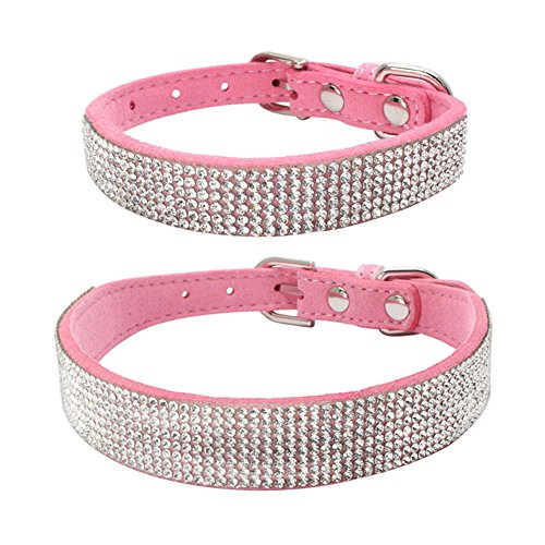 Hpapadks Diamond Dog Collar Rhinestone,Bling Dog Collar Sparkly Rhinestone Studded Small Medium Dog Collar Pet Supplies Dog ()