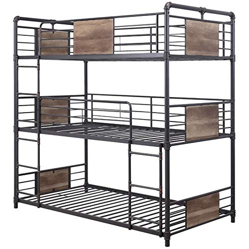 (ACME Furniture 37820 Brantley Triple Bunk Bed Sandy Black and Dark Bronze Hand-Brushed)