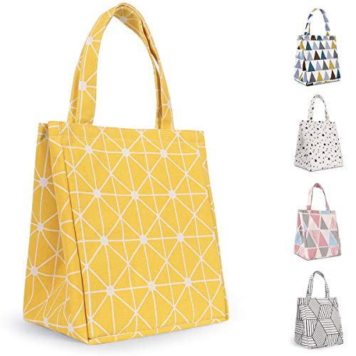 Buringer Insulated Lunch Bag with Inner Pocket Printed Canvas Fabric Reusable Cooler Tote Box for Ladies Woman Man School Work Picnic (Upgraded Yellow Rhombus Pattern)