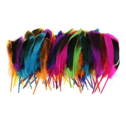 (50pcs 135mm Colorful Wild Duck Feather Trim for Clothing Costume Decoration | Color - Multicolor)