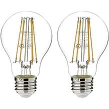 AmazonBasics 75 Watt Equivalent,  Clear, Non-Dimmable, A19 LED Light Bulb | 2-Pack