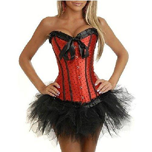 Dot Corset Satén Conjunto de corsé Topos Para Mujer + Falda Rojo