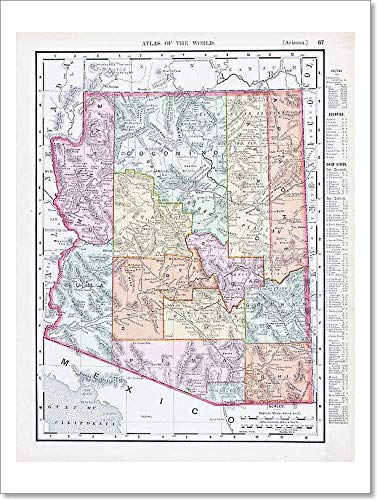 Amazon Com Barewalls Antique Vintage Color Map Arizona Usa Paper