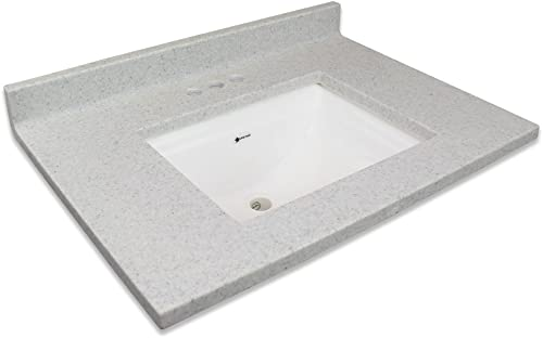 Transolid Charlotte2231-FWB Charlotte Cultured Marble 4-in Centerset Single-Bowl Vanity Top, 31 x 22 , Frost