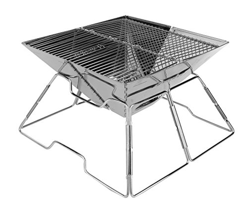 Wealers Compact Folding 16 Inch Charcoal BBQ Grill Made From Stainless Steel. Portable and Great for Camping, Picnics, Backpacking, Backyards, Survival, Emergency Preparation. by Wealers