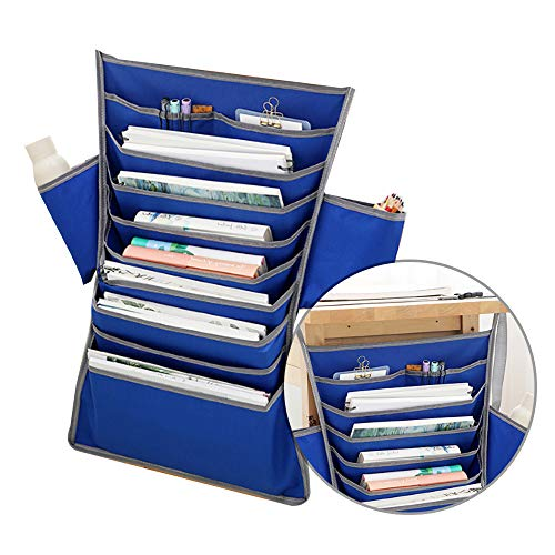 Multifunctional Desk-Side Hanging Bag Oxford Fabric Paper Sorter Book Pockets File Organizer for Glasses Books Toys - Blue