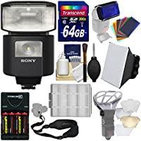 Sony Alpha HVL-F45RM Radio-Controlled Flash with Video Light + 64GB Card + Batteries & Charger + Soft Box + Flash Diffusers + Sling Strap + Kit