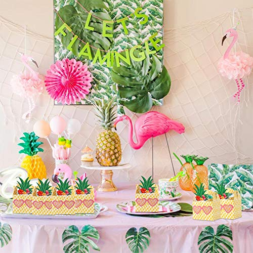 AerWo 50pcs Pineapple Favors Boxes with Sunglasses, Pineapple Gable Gifts Boxes for Hawaiian Tropical Party Decorations Luau Fruit Pineapple Party ...