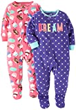 Carter's Baby Girls' Toddler 2-Pack Fleece Pajamas, Purple Dot/Pink Cupcakes, 2T
