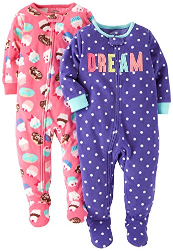 (Carter's Baby Girls' Toddler 2-Pack Fleece Pajamas, Purple Dot/Pink Cupcakes)