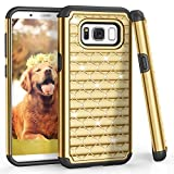 Samsung S8 Case, Galaxy S8 Case, TILL(TM) Studded Rhinestone Crystal Bling Shock Absorbing Hybrid Defender Rugged Slim Case Cover For Samsung Galaxy S8 S VIII 5.8 Inch 2017 [Gold]