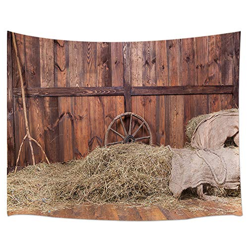 JAWO Rustic Tapestry, Hay Bale Wood Western Barn Background Cowboy Theme Rural Life Tapestries, Wall Art Hanging for Bedroom Living Room Dorm 71X60Inches Wall -