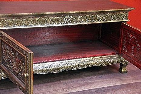 Sideboard Schrank Drachen Schnitzereien Massiv Holz Kommode Anrichte Gold Neu