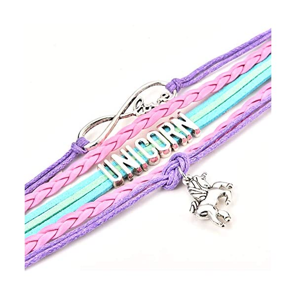 JunXin Cute Unicorn Bracelet Wristband Handmade Rainbow Jewelry Infinity Love Charm Gifts Birthday Gift Best Friends 5