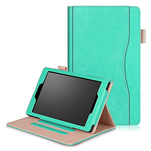 Amazon Fire HD 8 Tablet (2017 and 2016 ReleasePU Leather Case + Inner Cover Double Protection with Slots for ID / Bank Cards Stand Function Shockproof Againt Dust cover - Sky-blue ()