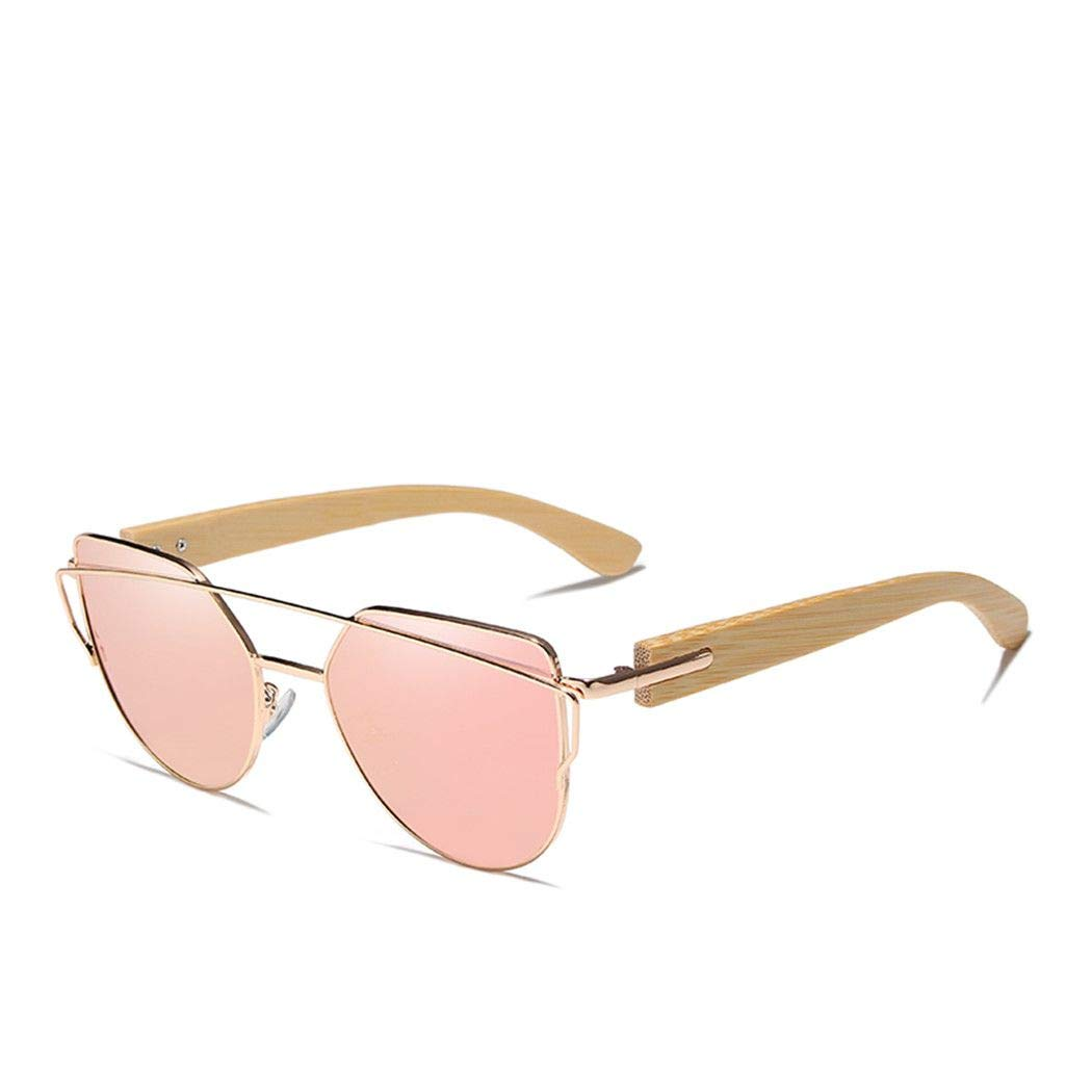 Sunglasses Polarized Metal Frame Wood Glasses Women Sun Glasses With Wood Case pink bamboo