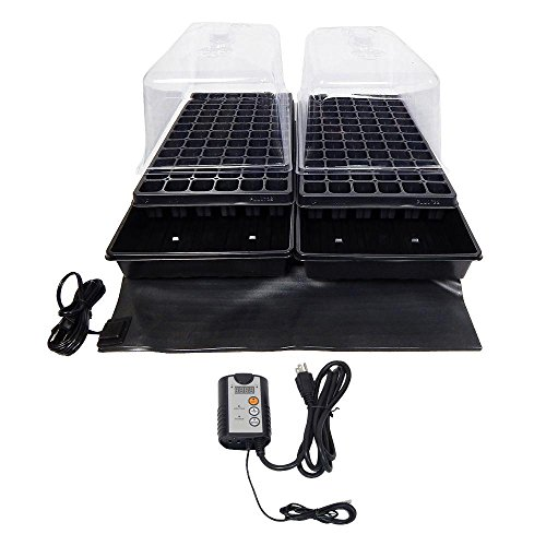 Viagrow Dual Propagation Kit with Heat Mat, Flat Tray, Flat Insert, Tall Dome, Tray Heat Mat with Thermostat by Viagrow