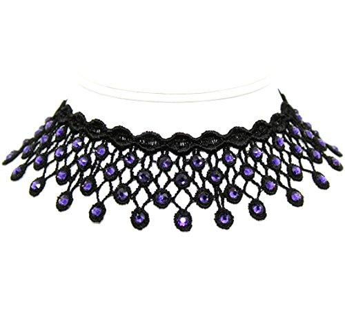 Arthlin Purple Rhinestones Choker, 1.5