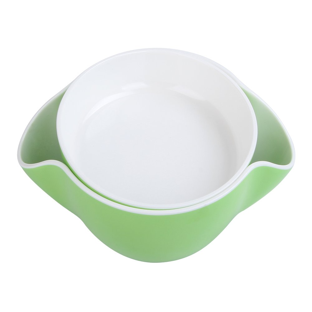 Royoma Double Dish Nut Bowl for Pistachio Shell Storage,Green
