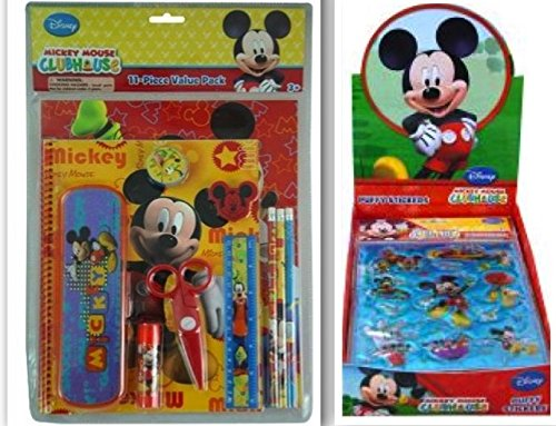 Disney Mickey Mouse Clubhouse Back to School and Scrapbooking Bundle- 2 Items: 11 Piece Value Pack and 11 Piece Puffy Sticker Set