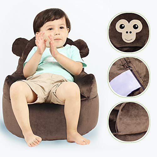 Kids' Plush Animal Chairs Bean Bag Chair Memory Foam Furniture Children's Sofa Backrest Chair - Learning Chair with Soft Micro Fiber Cover for Teens/Toddlers/Baby ()
