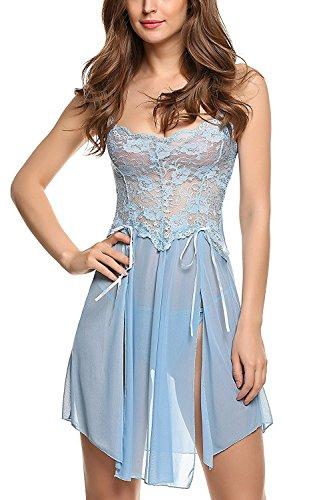 Also Esay Women Lingerie Forky Nightwear Mesh Babydolls Lace Chemises Blue - Huntsville Shopping Alabama
