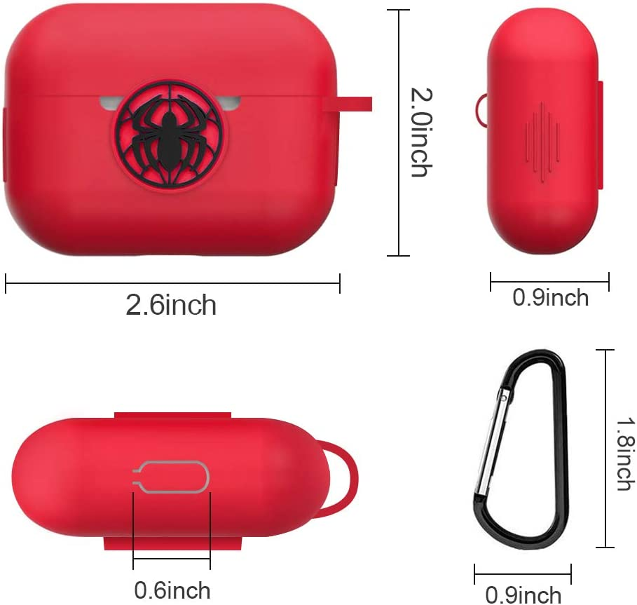 AirPods Pro Case Marvel Avengers AirPods Pro Protective Silicone Case for Apple AirPods Charging Case Compatible with Apple AirPods 3 with Carabiner Red Spider Man