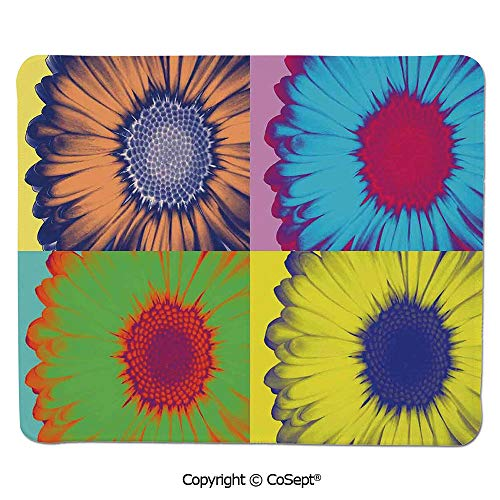 - Quality Selection Comfortable Mouse Pad,Pop Art Inspired Colorful Kitschy Daisy Flower Hard Edged Western Design,Non-Slip Water-Resistant Rubber Base Cloth Computer Mouse Mat (15.74