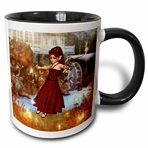 3dRose Simone Gatterwe Designs Fairies Fairytale - A autumn fairy playing at night with the fireflies at a mill - 15oz Two-Tone Black Mug (mug_181717_9)]()