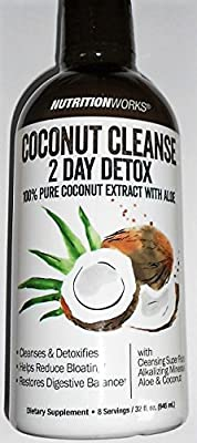 Nutrition Works Coconut Cleanse 2 Day Detox 100% Pure Coconut Extract with Aloe, 32 Ounce