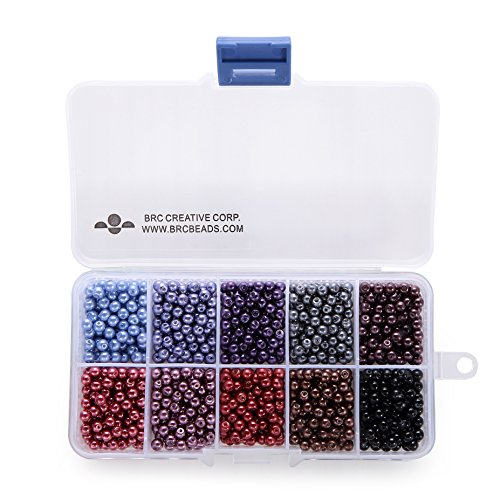 BRCbeads 4mm 1000pcs COOL COLOR Tiny Satin Luster Glass Pearls Round Loose Beads + FREE Plastic Jewelry Container Box Wholesale Assorted Mix Lot For Jewelry - 4mm Beads Round Glass