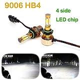 9006 headlight bulb 100w - 9006 HB4 LED Headlight Bulbs 6500K Cool White 4-side of LED Chips High or Low Beam Fog light 200W 20000LM -2 Years Warranty (2 Pcs)